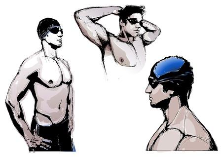 swim cap: Swimming trio