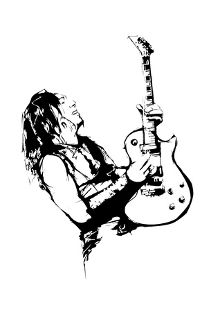 guy playing guitar: guitarist Illustration