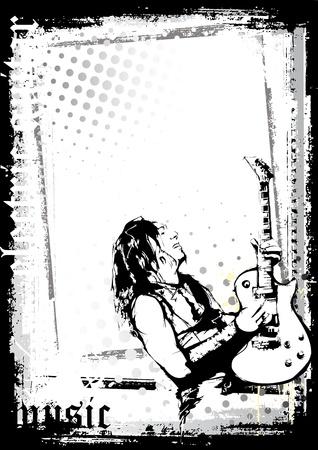 gitarist poster Stock Illustratie