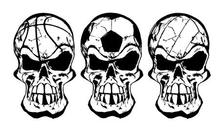 bal schedels Stock Illustratie