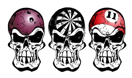 bowling, darts and billiard skulls Vector