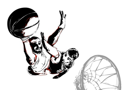 two basketball players in action Vector