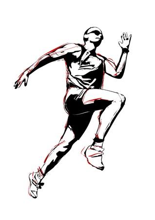 outdoor fitness: illustratin of running man