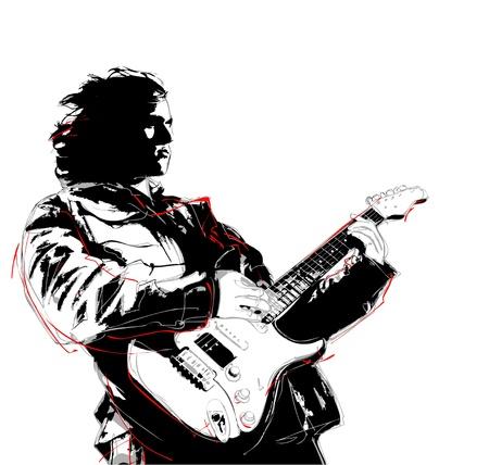 popular music concert: illustrazione del chitarrista Vettoriali
