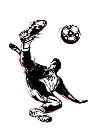 illustration of soccer player volley  Illustration