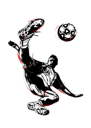 soccer kick: illustration of soccer player volley  Illustration
