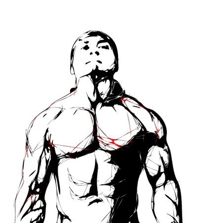 bodybuilding: illustration of fighter Illustration