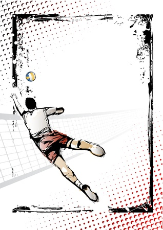 illustration of volleyball player in grungy background Vector