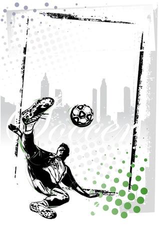illustratie van voetballer in de grungy achtergrond Stock Illustratie