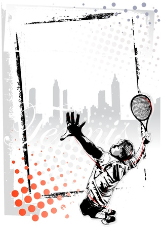 tennis court: illustration of tennis player