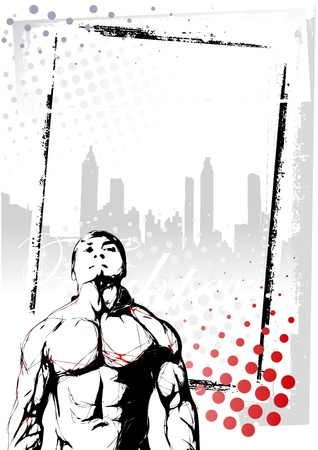 art activity: illustration of fighter in the grungy background
