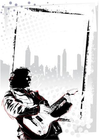 illustratie van de gitarist op grunge achtergrond Stock Illustratie