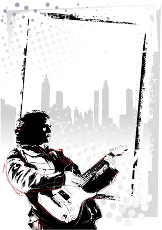 guy playing guitar: illustration of guitarist in grunge background Illustration