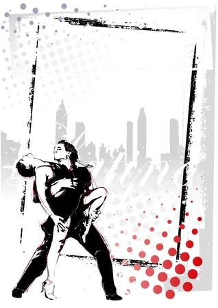 illustratie van latino dansers in grungy achtergrond Stock Illustratie