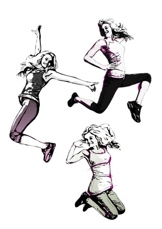 illustration of three jumping women  Vector