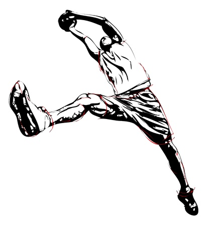 a basketball player: illustration of jumping basketball player