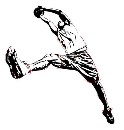 basket: illustrazione di saltare giocatore di basket