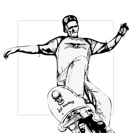 skateboarder: illustration of jumping skateboarder