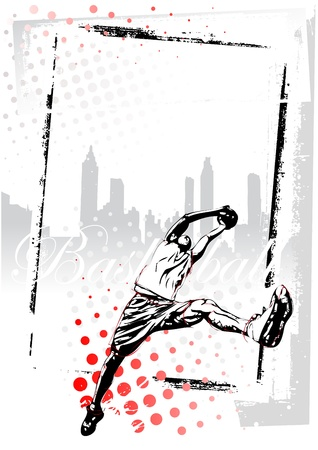 illustration of basketball player in grungy background Vector