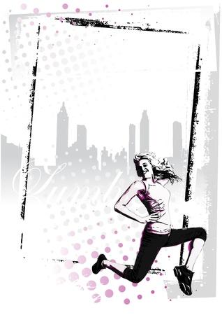 illustration of jumping woman  イラスト・ベクター素材