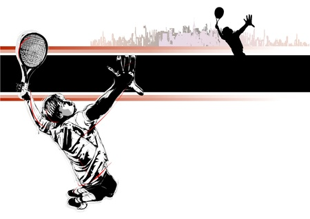 tennis court: illustration of tennis player with black line Illustration
