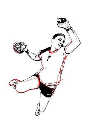 illustration of handball player 向量圖像