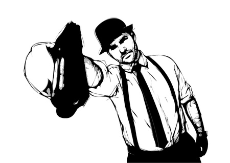 hooligan: Gangster-Darstellung auf wei�em Hintergrund