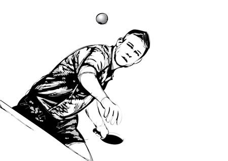 ping pong: ilustraci�n del jugador de tenis de mesa