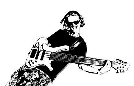 rastafarian: illustration of guitarist with dreadlocks Illustration