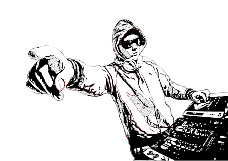 disk jockey: Illustration of DJ in action
