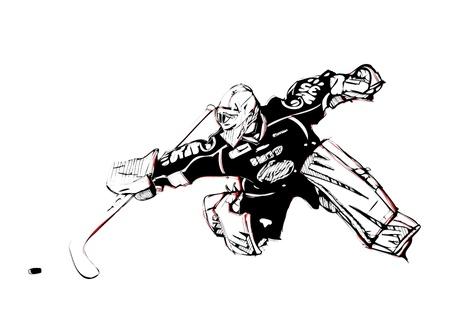 hokej na lodzie: ilustracja bramkarza hokejowego