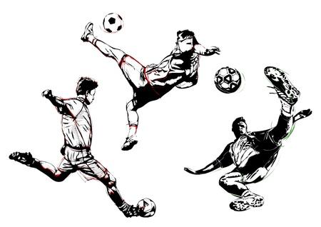 goal kick: illustration of three soccer players Illustration