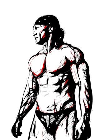 wrestling: illustration of bodybuilder