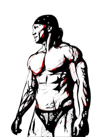 illustration of bodybuilder