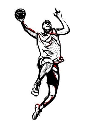 illustratie van basketbalspeler Stock Illustratie