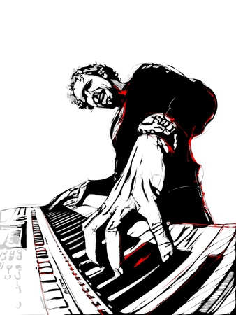 blues: illustration of pianist Illustration