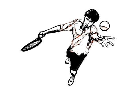 tennis serve: illustration of tennis service