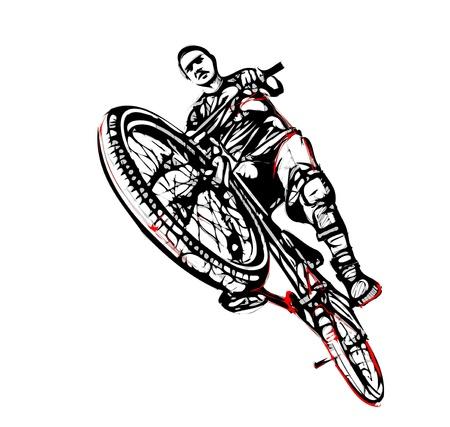 mountain biking: illustration of jumping biker