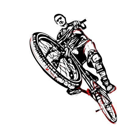 illustration of jumping biker