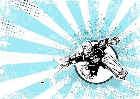 hockey goalie: ice hockey retro poster background