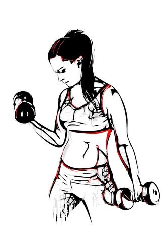 levantamiento de pesas: ilustración de la mujer con mancuernas