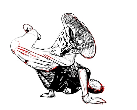 hip hop dance: illustration of breakdancer pose Illustration