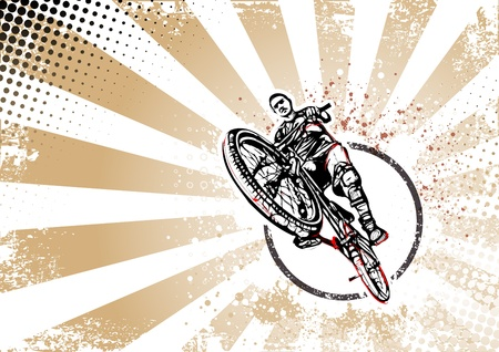 action figure: illustration of biker on grungy background