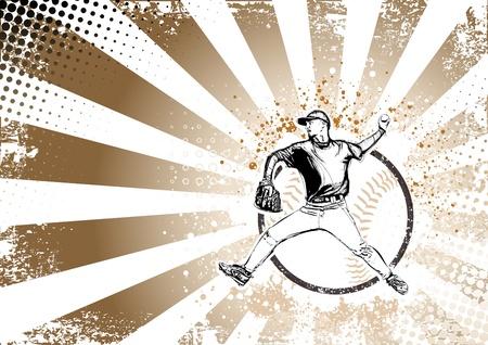illustration of baseball player on grungy background
