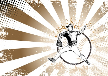 illustratie van honkbalspeler op grungy achtergrond Stock Illustratie