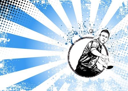 illustratie van ping pong speler op grungy achtergrond Stock Illustratie