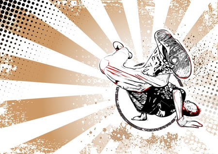 dance pose: illustration of breakdancer pose on grungy background