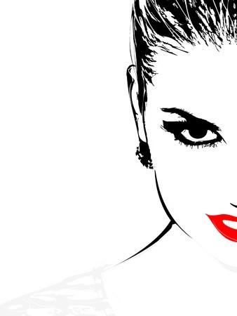 illustration of beautiful woman face on white  イラスト・ベクター素材