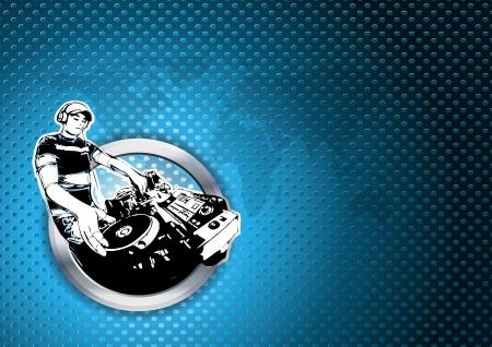 disk jockey: illustration of disc jockey in chrome ring