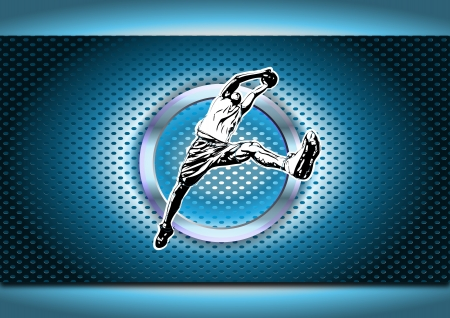 chrome man: illustration of basketball player in the chrome ring Illustration